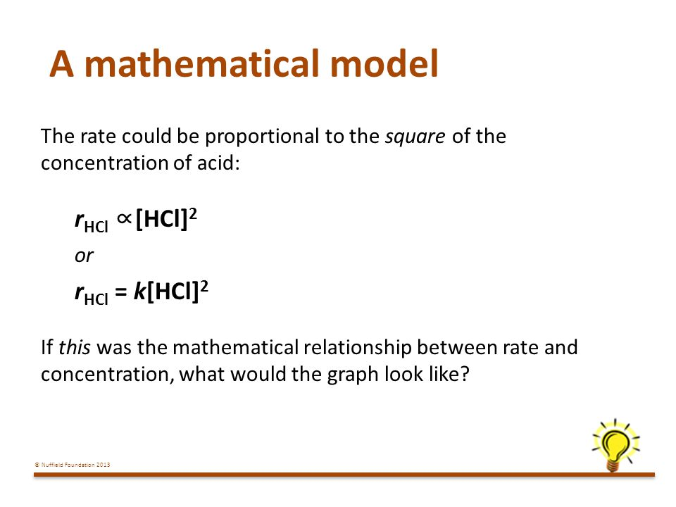 A mathematical model rHCl ∝[HCl]2 rHCl = k[HCl]2